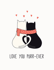 Foto op Canvas Illustraties Hand drawn Valentines day card, banner with cute cats couple, hearts, text Love you purr-ever. Vector illustration. Line drawing. Isolated on white. Design concept for holiday print, invite, gift tag.