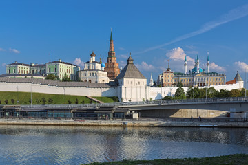 Kazan Kremlin, Republic of Tatarstan, Russia. View from the west at the end of sunny summer day.