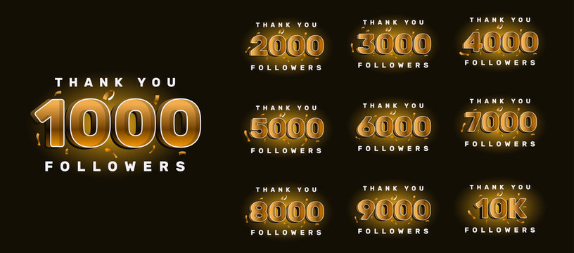 Thank you followers congratulation card. Number of subscribers. Vector illustration for Social Networks