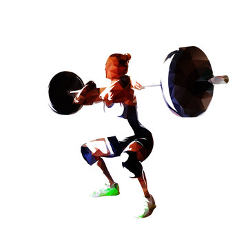 Squats, weight lifter woman low polygonal vector illustration