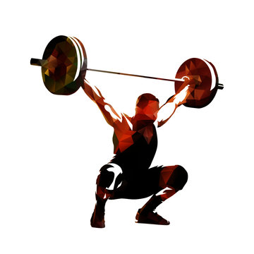 Weightlifter lifting big barbell, isolated low polygonal vector illustration. Geometric drawing