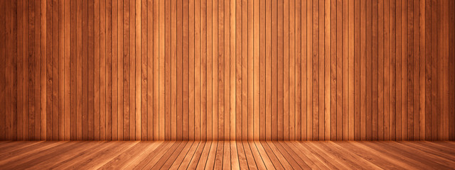 Fotobehang Hout Concept or conceptual vintage or grungy brown background of natural wood or wooden old texture floor and wall as a retro pattern layout. A 3d illustration metaphor to time, material, emptiness, age