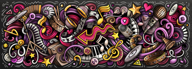 Keuken foto achterwand Graffiti Music hand drawn cartoon doodles illustration. Colorful vector banner
