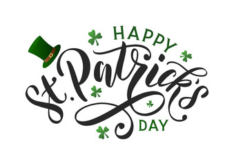 Saint patricks day typography poster. Hand sketched lettering st. patrick day decorated by clover leafs and leprechaun hat. Celtic modern calligraphy vector eps 10
