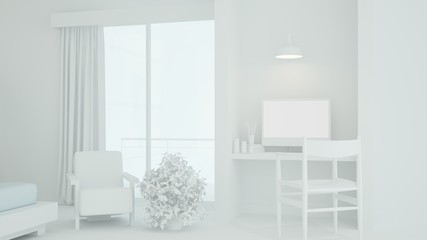 Wall Mural - The interior living minimal and work space in condominium