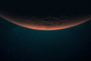 Beautiful red planet Mars in space on a starry background. Solar system. Space wallpaper.