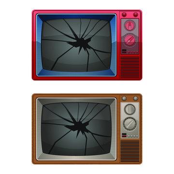 Broken tv vector design illustration isolated on white background