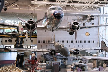 WASHINGTON, DC - JUNE 13, 2013: People visit Smithsonian National Air and Space Museum in Washington. It holds the largest collection of historic aircraft and spacecraft in the world.