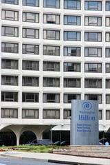 WASHINGTON, USA - JUNE 14, 2013: Hilton hotel in Washington D.C.. There are about 130 hotels with 31,300 rooms in Washington, DC.