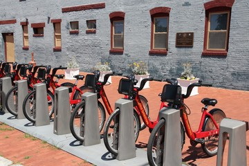 WASHINGTON, USA - JUNE 14, 2013: Bicycle sharing station of Capital Bikeshare in Washington DC. It has more than 300 stations and more than 2 million annual ridership.