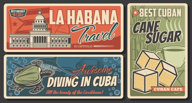 Cuba and Havana travel retro banners. Cuban flag and National Capitol Building vector design with Caribbean Sea turtle, diving mask, blue marlin and cane sugar cubes. Tourism and vacation themes