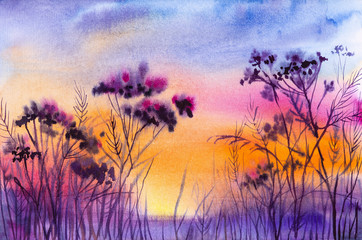 Foto op Plexiglas Snoeien Watercolor illustration of a beautiful summer forest landscape by the lake.Sunset