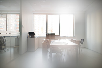 Modern interior of office for small conference meetings with table and desktop computer