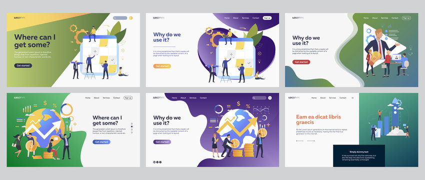Financial planning set. Managers working at note board, getting money, launching rocket. Flat vector illustrations. Global business, investment concept for banner, website design or landing web page