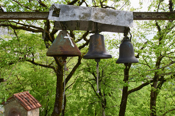 A three old bronze bells