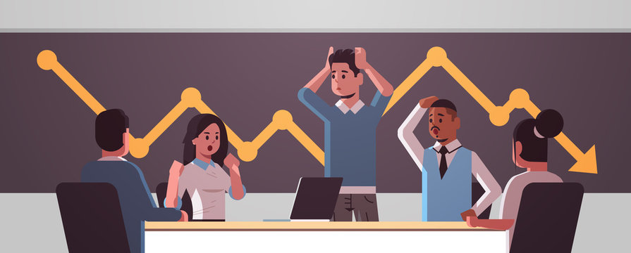 businesspeople team frustrated about falling economic graph arrow fall down financial crisis bankrupt investment risk concept mix race stressed employees sitting at round table horizontal portrait