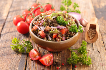Wall Mural - lentils salad with onion, tomato and sauce
