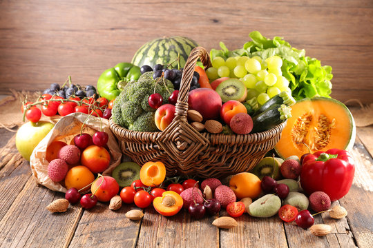 wicker basket with fruit and vegetable