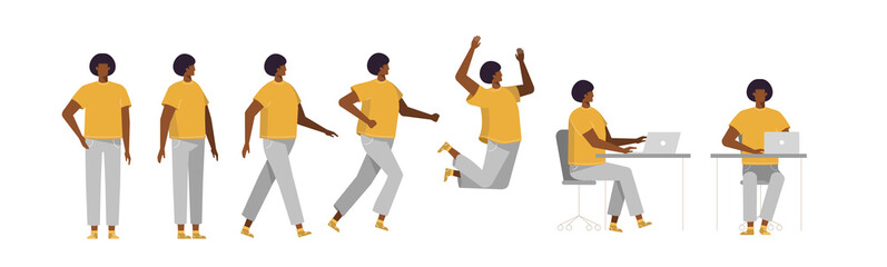 Set of Afro American man in different poses. Male character for your design project, animation. Vector trendy illustration, flat design. White background, isolated. Boy walk, stand, run, jump, sit Fototapete