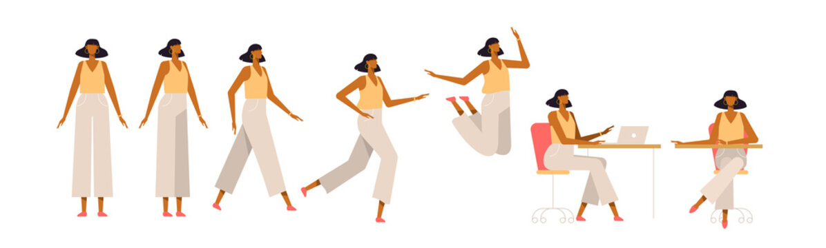 Set of a fashionable woman in different poses. Female character for your design project, animation. Vector trendy illustration, flat style. White background, isolated. Girl walk, stand, run, jump, sit