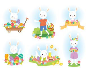 Easter bunny clip art set with cute white bunnies, Easter eggs and flowers