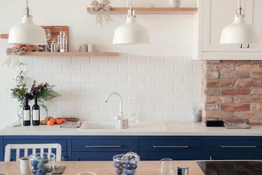 Beautiful Modern blue and white kitchen interior design house architecture