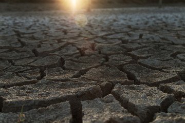 Dry soil in the sunset light; cracked soil texture