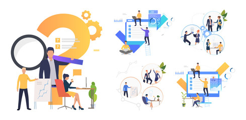 Collaboration on project set. Business partners working together. Flat vector illustrations. Business, teamwork concept for banner, website design or landing web page