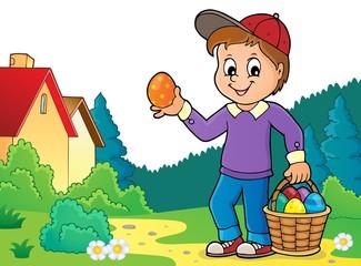 Türaufkleber Für Kinder Boy with Easter eggs theme image 3