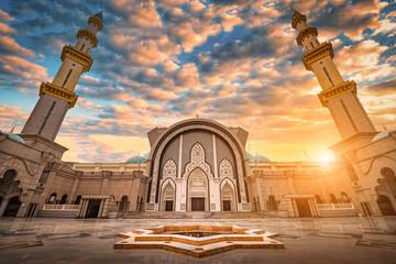 Masjid Wilayah Persekutuan at sunset in Kuala Lumpur, Malaysia.