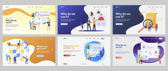 Business processes set. Managers selecting staff, presenting reports, charts, agreement. Flat vector illustrations. Management, strategy concept for banner, website design or landing web page Fototapete
