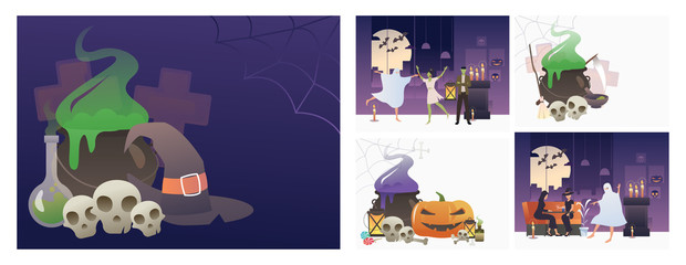 Set of Halloween horror party banners. Flat vector illustrations of cauldron, pumpkin, party, scary. Halloween holiday concept for banner, website design or landing web page