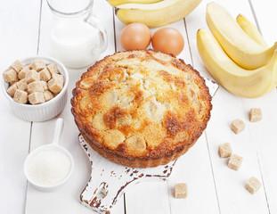 Semolina cake with bananas