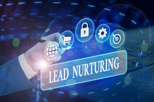 Writing note showing Lead Nurturing. Business concept for method of building a relationship with potential customers