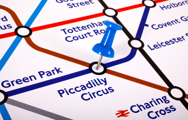Piccadilly Circus Station on a London Underground Map