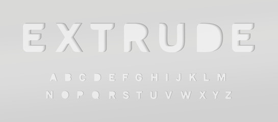 Fotomurales - Extruded grey alphabet. Cut out font, paper type for modern origami logo, creative monogram, poster and banner graphic. Minimal style letters with shadow, vector typography design