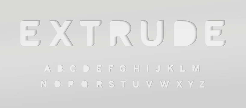 Extruded grey alphabet. Cut out font, paper type for modern origami logo, creative monogram, poster and banner graphic. Minimal style letters with shadow, vector typography design