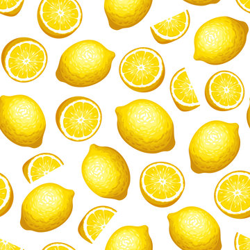 Vector seamless pattern with yellow lemon fruit on a white background.