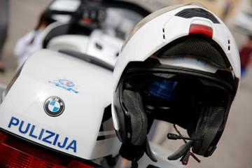 A traffic police officer's helmet is seen on a police motorcycle in Zejtun