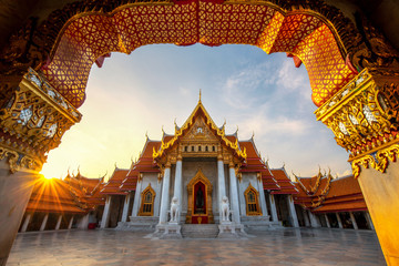 Foto op Plexiglas Bedehuis Thailand temple Wat Benjamabophit Bangkok For Visitors. Located opposite one corner of Chitlada Palace in the Dusit district is one of the most beautiful temples in Thailand, Wat Benjamabopit.