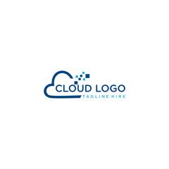 Cloud logo vector for software house, software developer, web developer, web hosting, domain, cloud services, website, cloud computing, data warehouse, big data.