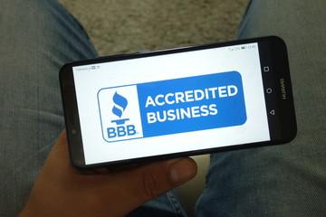 KONSKIE, POLAND - June 29, 2019: Better Business Bureau - BBB logo on mobile phone