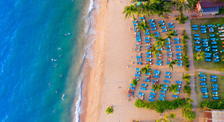 aerial view of beautiful summer vacation sea beach