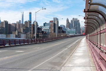 Empty Bridge with a Pedestrian Path leading to Roosevelt Island in New York City