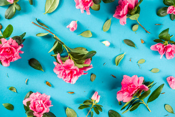 Photo sur Aluminium Fleur Floral pattern made of pink spring flowers, green leaves, branches on turquoise, aquamarine background. Flat lay, top view. Spring holiday background