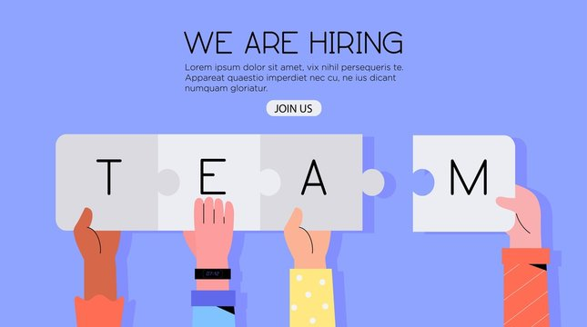 Different hands holding jigsaw puzzle with a word team. Concept or we are hiring or join our team banner, flyer, landing page or social media post. Team building or free vacancy and job opportunity.