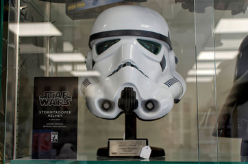 DUBLIN, IRELAND - SEPTEMBER 28, 2018: Helmet of star wars trooper stormtrooper replica inside comics shop