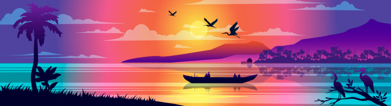 Horizontal tropical landscape with ocean, boat, birds, palm trees, rainforest, seashore and reflections in the water. Brazilian view with sunset. Panoramic banner for advertisements and postcards