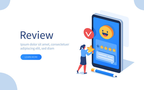 Woman Character Giving Five Star Feedback. Client Choosing Satisfaction Rating and Leaving Positive Review. Customer Service and User Experience Concept. Flat Isometric Vector Illustration.