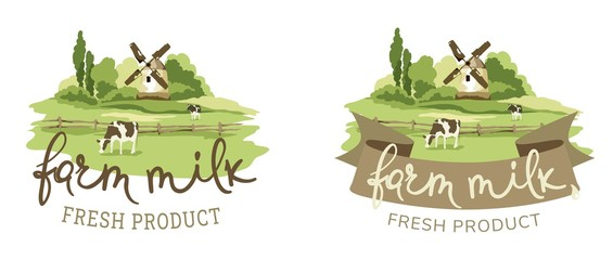Photo sur Plexiglas Blanc Logotype for farm milk / Vector illustration, fields and meadows with cow and mill
